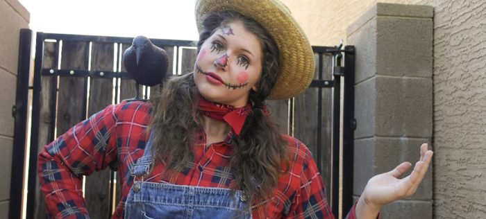 Homemade Scarecrow Costume from Clever Pink Pirate