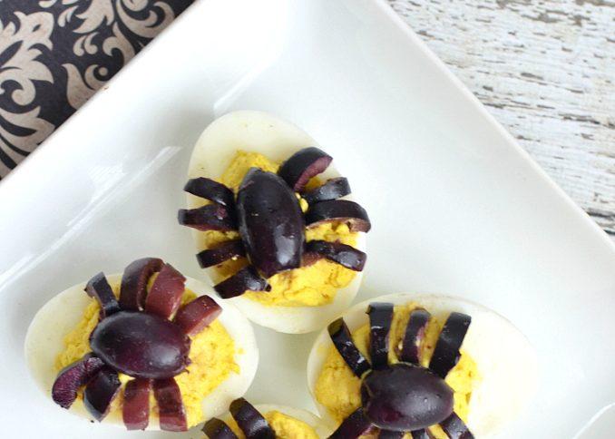 Spider Deviled Eggs for Halloween Recipe