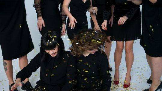 black dresses at a party